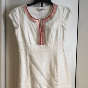 NWT white Boden linen dress with beaded neck
